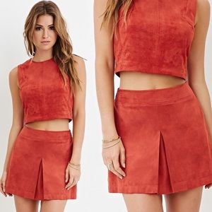 Forever 21 Boho Suede Pleated Skirt Size - 27